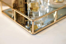 Load image into Gallery viewer, PuTwo Tray Mirror, Gold Mirror Tray Perfume Tray Mirror Vanity Tray Dresser Tray Ornate Tray Metal Decorative Tray Tray Jewelry Perfume Organizer Makeup Tray for Vanity, Dresser, Bathroom, Bedroom - iBuy Africa