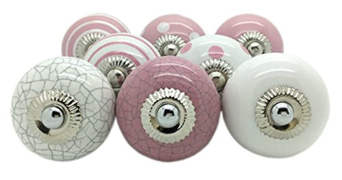 G Decor 8 x Pink Ceramic Door Knobs Vintage Shabby Chic Cupboard Drawer Pull Handles - iBuy Africa