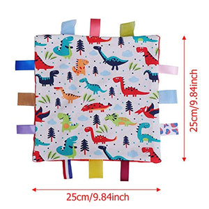 G-Tree Baby Comfort Blanket with Tag, Taggy Security Blanket - Multi-Coloured Dinosaurs Tag Taggy Blanket - Red Textured Underside - iBuy Africa