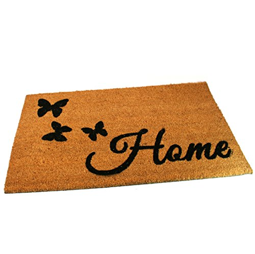 Black Ginger Large, Thick, Decorative, Patterned Coir Door Mats with Nature Designs Butterfly Home - iBuy Africa