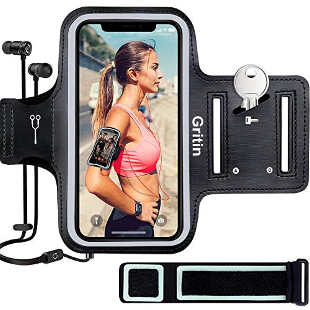 Gritin Running Armband for iPhone 11/11 Pro/XS/XR/X/8/7/6 Plus, Skin-Friendly Sweatproof Sports Running Armband with Key and Headphone Slot for Phones up to 6.1
