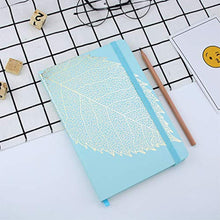 Load image into Gallery viewer, VEESUN Notebook A5 Lined, 96 Sheets (192 Pages), 21 x 14.5 cm, 90 GSM, Note Book Hardcover Writing Pad Jotter, Travel Diary with Elastic Closure Bookmark Stationary Gift, Blue Leaf - iBuy Africa