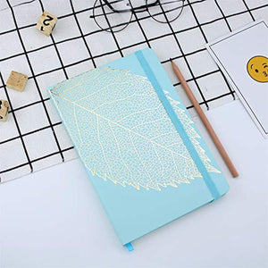 VEESUN Notebook A5 Lined, 96 Sheets (192 Pages), 21 x 14.5 cm, 90 GSM, Note Book Hardcover Writing Pad Jotter, Travel Diary with Elastic Closure Bookmark Stationary Gift, Blue Leaf - iBuy Africa