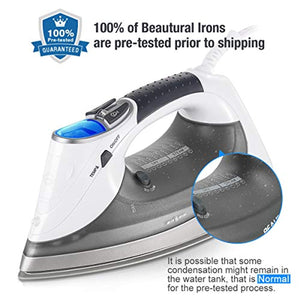 Beautural 2400 W Steam Iron with LCD Display, Variable Temperature and Double Ceramic Coated Soleplate, 8 ft Power Cord and 340ML Tank-White/Grey - iBuy Africa