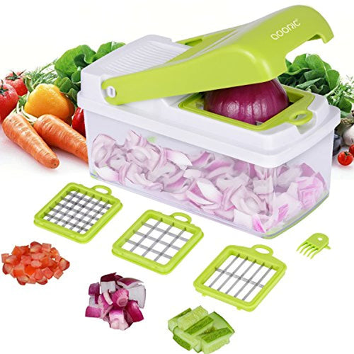 Vegetable Chopper, Adoric Food Slicer Dicer 3 Interchangeable Blades Set with Food Container & Cleaning Brush for Potato Tomato Onion Salad Fruit - iBuy Africa