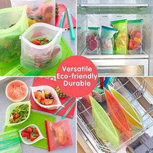 5 x Reusable Silicone Food Bags by Affiniden® | Assorted Size Storage Bag Multipack (3 x 1000 ml Plus 2 x 1500 ml) | Eco-Friendly Set - iBuy Africa