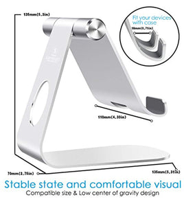 Lamicall Tablet Stand, Adjustable Tablet Holder : Desktop Stand Dock Compatible with New Pad 2019 Pro 10.2/10.5/9.7/12.9, Air mini 2 3 4, Nintendo Switch, Samsung Tab, other Tablets - Silver - iBuy Africa