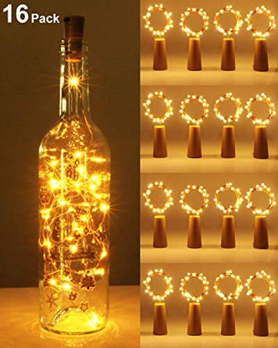 [16 Pack] Bottle Lights with Cork, Kolpop Cork Lights for Wine Bottles, 2m 20 LED Copper Wire Battery Powered Fairy Lights for Parties, Wedding, Christmas, Table Centrepiece Decoration (Warm White) - iBuy Africa