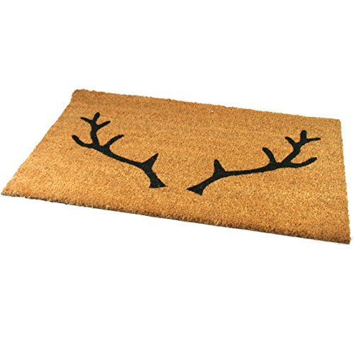 Black Ginger Large, Thick, Decorative, Patterned Coir Door Mats with Nature Designs Stag - iBuy Africa