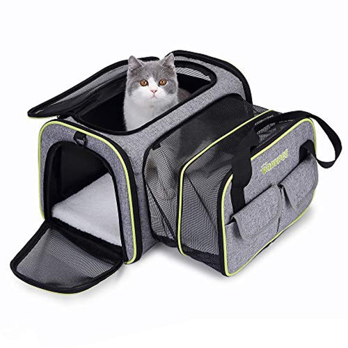 DADYPET Pet carrier, Expandable Travel Bag For Puppy Dogs Cats, Airline Approved Soft Sided Foldable with Wool Rugs for Plane/Car/Train Travel (45 * 33 * 28 cm) - iBuy Africa