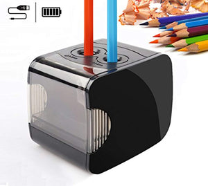 Electric Pencil Sharpeners, Battery & USB Powered, QHUI Heavy Duty 2 Holes Automatic Pencil Sharpeners for Kids, Perfect for No. 2 Pencils and Colored Pencils Use at Home, Classroom and Office - iBuy Africa