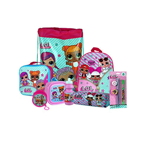 L.O.L Surprise 8PC Back to School Bundle - inc Backpack, Drawstring Sports Bag, Insulated Lunch Bag, Sandwich Box, Water Bottle, Coin Pouch, Pencil Case & Stationery Set. - iBuy Africa