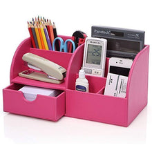 Load image into Gallery viewer, KINGFOM PU Leather Office Desk Organiser Tidy Pen Pencil Pots Stationery Storage Box Desk Accessories Pink - iBuy Africa