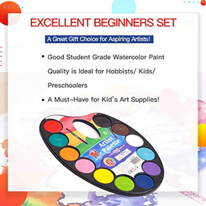 TBC The Best Crafts 12 Colours Watercolour Cake, Watercolour Paint Palette with Paint Brush, Educatioanl Art Supplies for School Kids - iBuy Africa