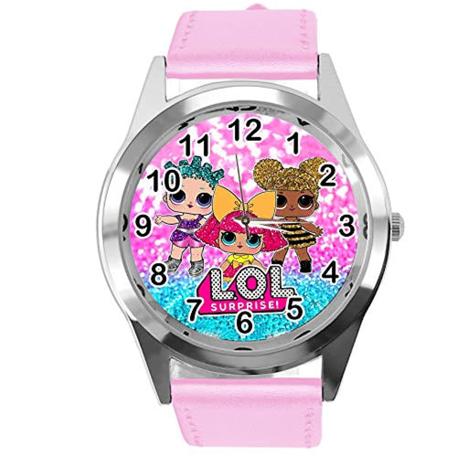 TAPORT® Watch Analogue Quartz with Real Leather Band Pink Round for LOL Dolls Fans - iBuy Africa