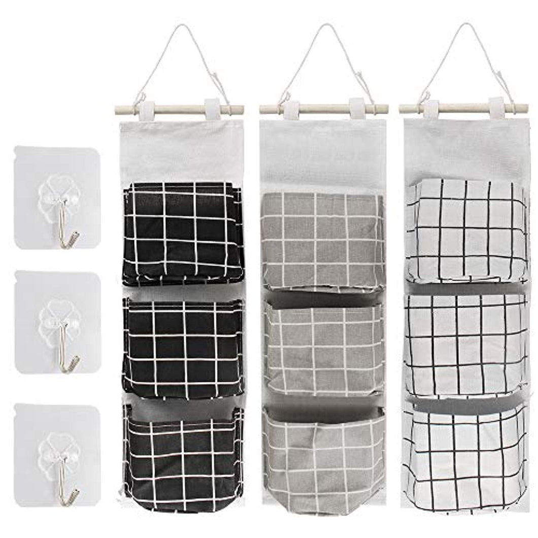 3 PCS Wall Hanging Storage Bag Door Wall Organizer Hanging Bag with 3 Pockets - iBuy Africa