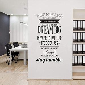 "ufengke Motivational ""Work Hard"" Quotes Wall Art Stickers Inspirational Words Letters Simple Decorative Removable DIY Vinyl Wall Decals Living Room, Bedroom Mural - iBuy Africa"