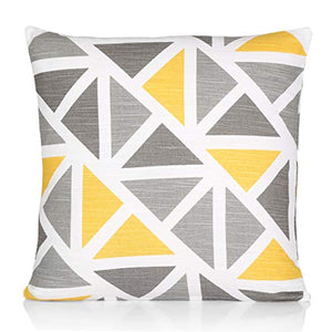 "Penguin Home 100% Cotton Decorative Double Sided Square Cushion Covers with Invisible Zipper 45cm x 45cm x 18"" (Set of 4, Yellow/Grey Mix), 45 X45 X1 cm - iBuy Africa"