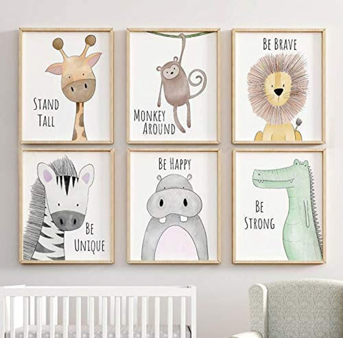 Nursery Safari Jungle Animal Print Set - Nursery Child's Wall Art Animal Pictures - SET of 3, 4 or 6 Nursery Decor With Inspirational Quotes - iBuy Africa