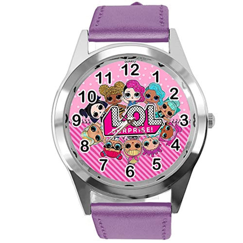TAPORT® Watch Analogue Quartz with Real Leather Band Violet Round for LOL Dolls Fans E2 - iBuy Africa