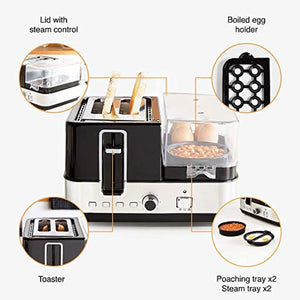 VonShef 5 in 1 Toaster, Egg Boiler & Poacher, Breakfast Multi-Cooker with Interchangeable Plates & Steamer Function - iBuy Africa