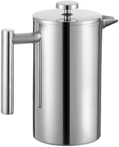MIULY French Press Cafetière 1000ml/8 Cup Stainless Steel Espresso Coffee Maker 350ml Silver - iBuy Africa