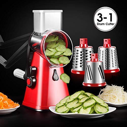 Shredder Vegetable Slicer 3-Blades Speedy Rotary Drum Grater Slicer for Vegetable Fruit Cutter Cheese Shredder - iBuy Africa