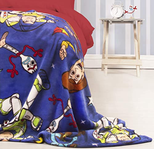 Toy Story Official 4 Fleece Throw | Blue Forky, Woody, Buzz Lightyear Design Super Soft Blanket | Perfect for Any Bedroom - iBuy Africa
