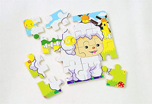 PROW® Wooden Jigsaws 16 Piece Toddler Square Puzzle Toy Elephant Panda Puppy Little Lamb Ship Train Plane Goose Cow Tiger Cock Frog Safe Education Learning Toys (12 pack,each 16 pcs) - iBuy Africa