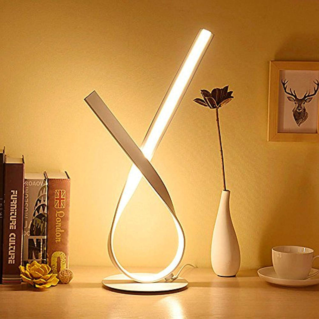 ELINKUME Twist LED Table Lamp - 12W Modern Bedside Lamp with Standing 18.89 Inches Tall on 6.29 Inches Base - Easy Long Press Controlled Dimmer Switch with Different Brightness Settings - White - iBuy Africa