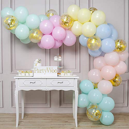 PartyWoo Pastel Balloons, 70 pcs 12 Inch Pastel Latex Balloons, Gold Confetti Balloons, Pastel Colour Balloons for Pastel Party Decorations, Pastel Birthday Decorations, Pastel Rainbow Party Supplies - iBuy Africa