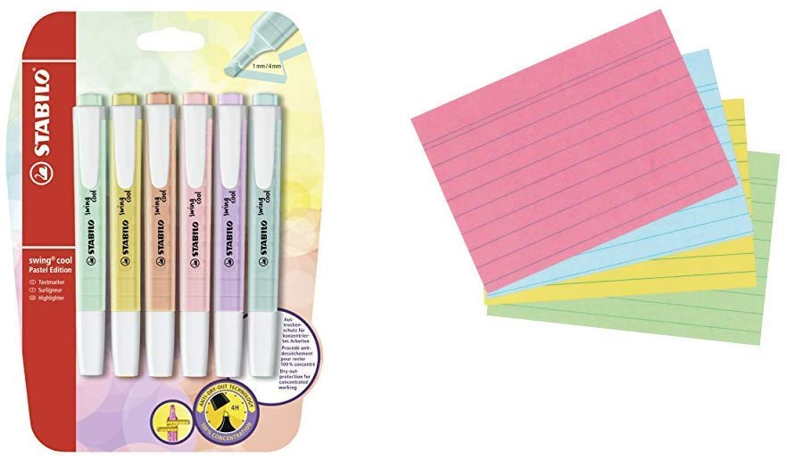 Highlighter - STABILO Swing Cool Pastel Blister of 6 Assorted Colours &Post-it Page Markers 12.7 x 44.4 mm Self-adhesive document flags in assorted bright colours, Pack of 10 pads (50 markers per pad) Highlighter + Record Card - iBuy Africa