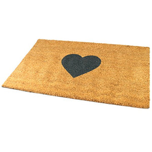 Black Ginger Large, Thick, Decorative, Patterned Coir Door Mats with Nature Designs Heart - iBuy Africa