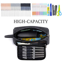 Load image into Gallery viewer, Mokani Pencil Pouch, Big Capacity Pencil Pen Case with Handle, Canvas Bag Stationery Box for Student Office College Middle School High School, Grey - iBuy Africa