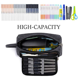 Mokani Pencil Pouch, Big Capacity Pencil Pen Case with Handle, Canvas Bag Stationery Box for Student Office College Middle School High School, Grey - iBuy Africa