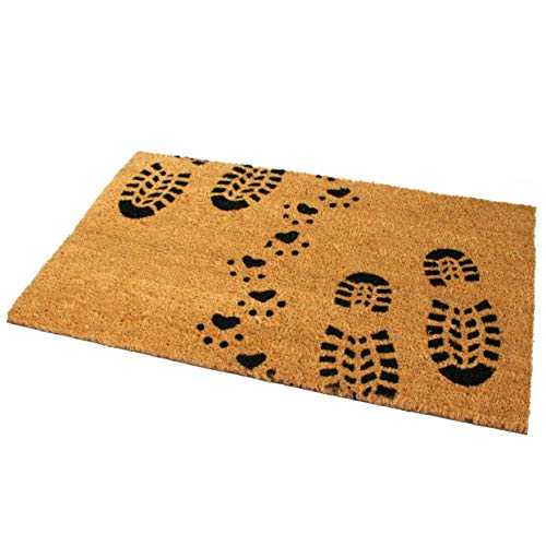 Black Ginger Large, Thick, Decorative, Patterned Coir Door Mats with Nature Designs Boot & Paw - iBuy Africa