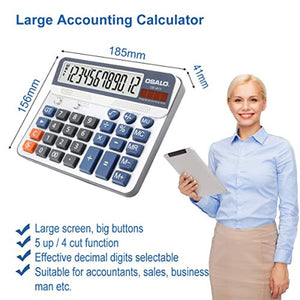 Pendancy Office Accounting 12 Digit Extra Large Display Large Button Desktop Calculator (OS-6815) - iBuy Africa