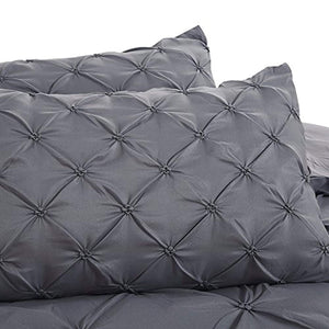 Soft Microfiber Pinch Pleat Pintuck Duvet Cover Set with Zipper Closure - iBuy Africa