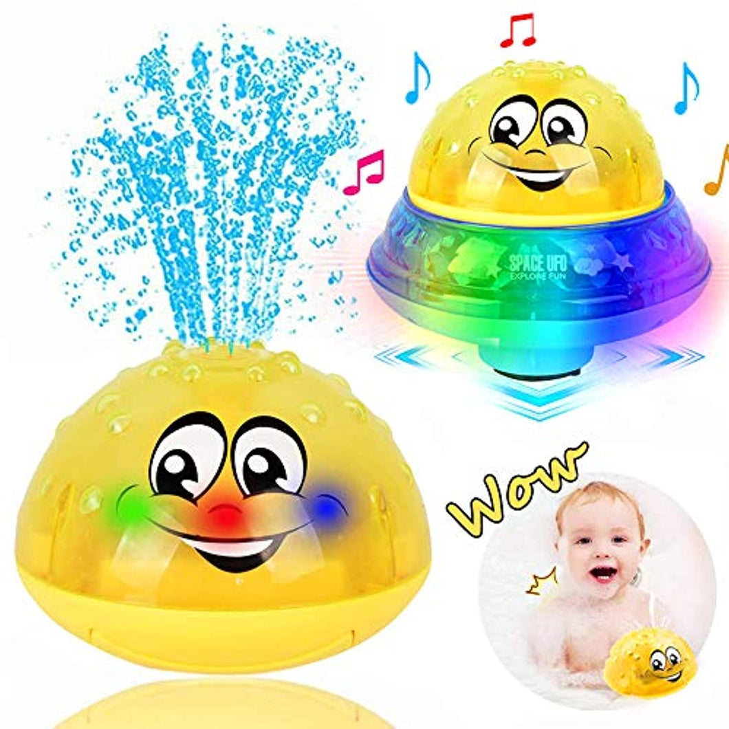Bath Toys, 2 in 1 Induction Water Spray Toy & Space UFO Car Toys with LED Light Musical Fountain Toy - iBuy Africa