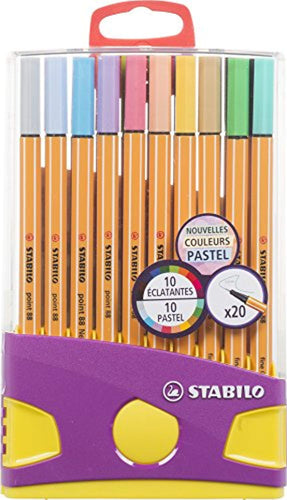Stabilo Point 88 Colorparade 20 Pastel Coloured Sign Pens Fine Point – Assorted Colours – 10 - iBuy Africa