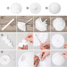 Load image into Gallery viewer, LIHAO Party Decoration 12x Paper Lanterns Tissue Paper Pom Poms Honeycomb Balls Fans Decoration Set for Wedding Celebration Birthday Party Baby Shower Party - White - iBuy Africa