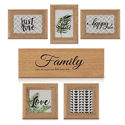 LIVIVO 6 Pack Multi Picture Frames Collage Wooden Photo Frame Wall Art Gallery Kit With Family Plaque for Home Office Décor Decoration – Hanging or Free Standing (3 Rectangular / 2 Square) - iBuy Africa