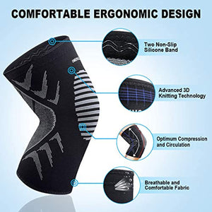 OMERIL Knee Supports, 2 Pack Breathable Knee Compression Sleeves for Men & Women, Knee Support Braces for Running, CrossFit, Basketball, Weightlifting, Gym, Workout, Sports Knee Joint Pain Prevention - iBuy Africa