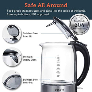 COSORI Glass Kettle Electric, 1.7L Cordless Water Tea Kettle with Illuminated LED, Stainless Steel Inner Lid & Bottom, Auto-Off & Boil-Dry Protection, wide Opening for easy Clean, 1500W, BPA-Free - iBuy Africa