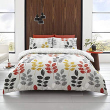 Load image into Gallery viewer, Happy Linen Company Floral Leaf Trail Botanical Grey Double Bedding Duvet Cover Set - iBuy Africa
