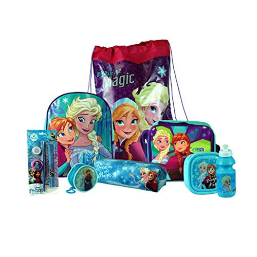 Frozen 8PC Back to School Bundle - inc Backpack, Drawstring Sports Bag, Insulated Lunch Bag, Sandwich Box, Water Bottle, Coin Pouch, Pencil Case & Stationery Set. - iBuy Africa