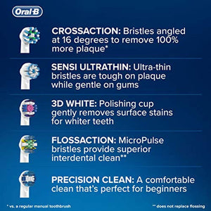 Oral-B Genuine CrossAction Replacement White Toothbrush Heads, Refills for Electric Toothbrush, Angled Bristles for up to 100 Percent More Plaque Removal, Pack of 4 - iBuy Africa