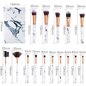 Make Up Brushes DUAIU 15Pcs Professional Premium Synthetic Eyeshadow Concealer Eyebrow Powder Cream Liquid Blending with Marble Cosmetic Bag - iBuy Africa