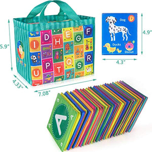 teytoy Baby Soft Alphabet Cards Toys, Baby Early Learning Shape Color Recognition Puzzle Toy with Storage Bag, Washable Soft Cloth Toy for Over 0 Years - iBuy Africa