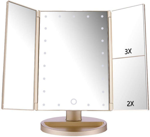 deweisn Tri-FoldLighted Vanity Makeup Mirror with 3X/2X/1X Magnification, 21 LED Lights and Touch Screen Dimmable Makeup Mirror, Two power Supply Mode Tabletop Makeup mirror,Travel Cosmetic Mirror - iBuy Africa